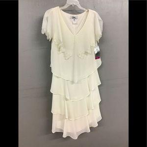 NWT Patra Ivory chiffon tiered Dress